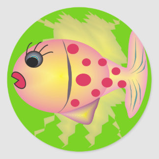 Whimsical Fish Art Gifts by gail gabel Classic Round Sticker