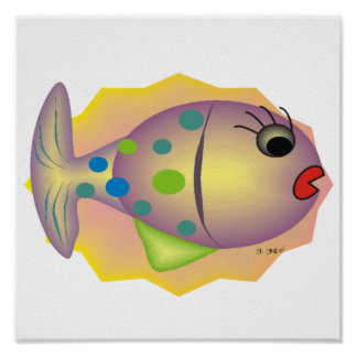 Whimsical Fish Art Poster by Gail Gabel