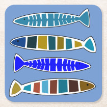 Whimsical Fish Coastal Nautical Beach House Square Paper Coaster