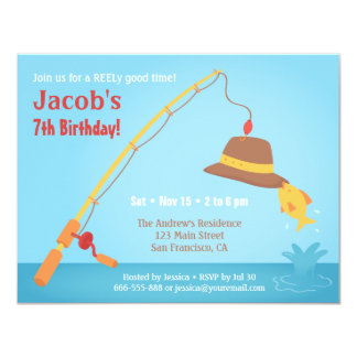 Whimsical Fishing Birthday Party Invitations