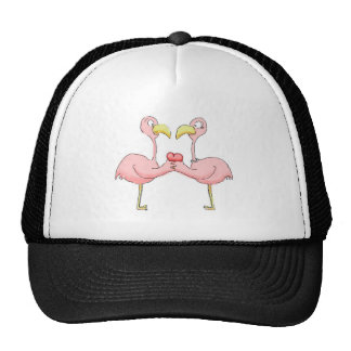 Whimsical Flamingo Couple with Pink Heart Trucker Hat