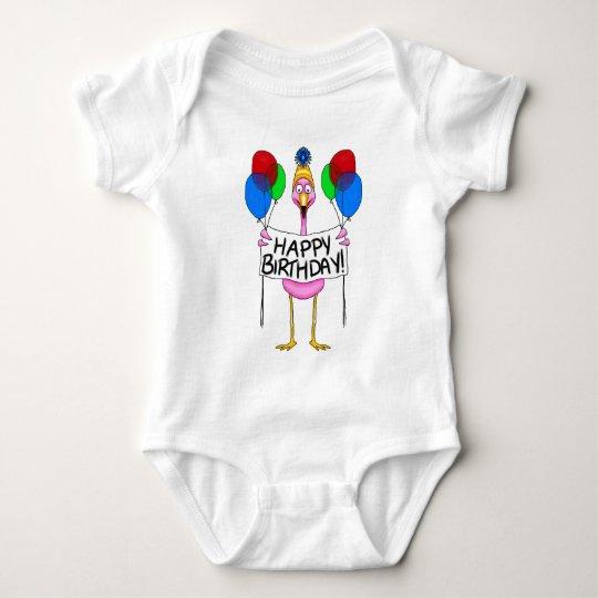 Whimsical Flamingo Happy Birthday Balloons Baby Bodysuit