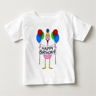Whimsical Flamingo Happy Birthday Balloons Baby T-Shirt