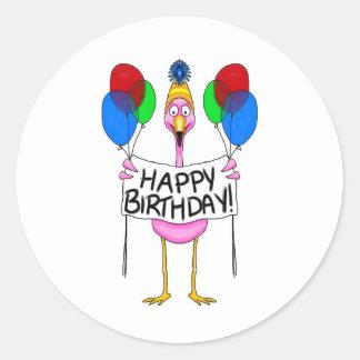Whimsical Flamingo Happy Birthday Balloons Classic Round Sticker