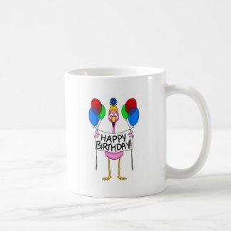 Whimsical Flamingo Happy Birthday Balloons Coffee Mug