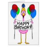 Whimsical Flamingo Happy Birthday Balloons Greeting Card