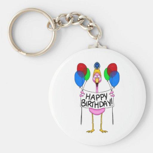 Whimsical Flamingo Happy Birthday Balloons Key Chain