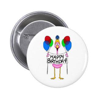 Whimsical Flamingo Happy Birthday Balloons Pinback Button