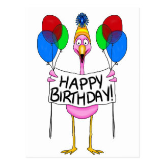 Whimsical Flamingo Happy Birthday Balloons Postcard