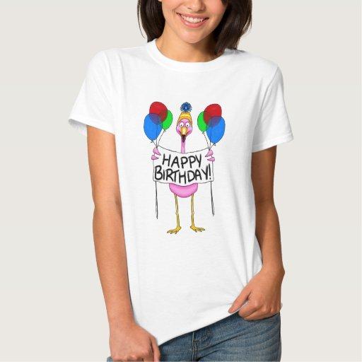 Whimsical Flamingo Happy Birthday Balloons T-shirts