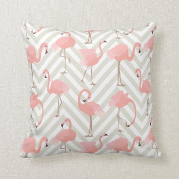 Beach Themed Whimsical Flamingos and Chevrons Pattern Throw Pillow