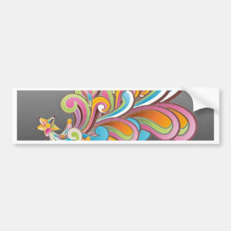 Whimsical Floral Abstract Car Bumper Sticker