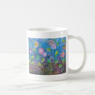 "Whimsical  Floral Art -""Thrive"" Coffee Mugs"
