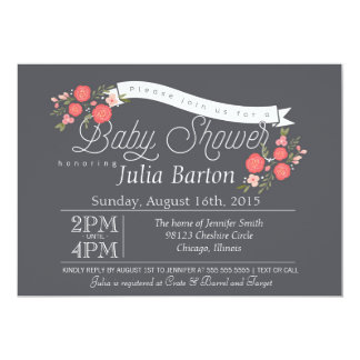 Whimsical Floral Baby Shower Invitation, Rosey Card