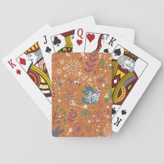 Whimsical Floral Birds Poker Deck
