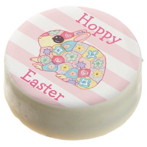 Whimsical Floral Bunny Pink Stripes Hoppy Easter Chocolate Covered Oreo
