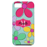 Whimsical Floral Doodle Banner Monogram Name iPhone 5 Cover