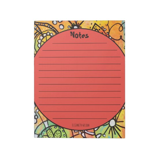 Whimsical Floral Doodles Orange Lime Green Artsy Notepad