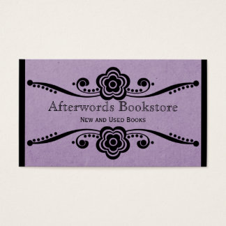 Whimsical Floral Flourish Business Card, Lavender Business Card