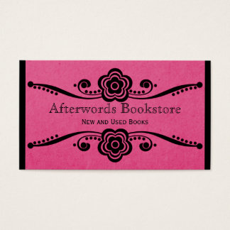 Whimsical Floral Flourish Business Card, Pink Business Card