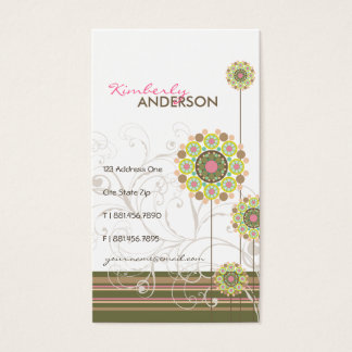 Whimsical Floral Flower Dots Swirls Trendy Stripes Business Card