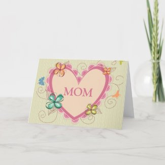 Whimsical floral heart mom mother's day card zazzle_card