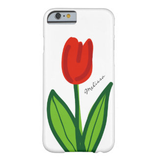 Whimsical floral iPhone case with red tulip flower