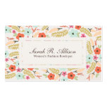 Whimsical Floral Pattern Boutique Linen Look Business Cards