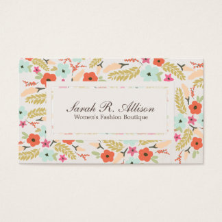 Whimsical Floral Pattern Boutique Linen Look Business Card