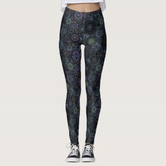 Whimsical Floral Patterned Leggings Gray Tones