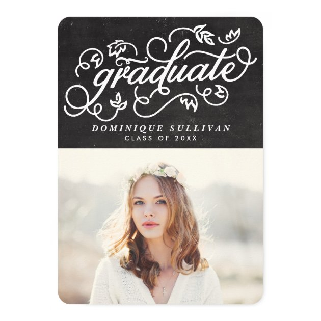 Whimsical Floral Script Chalkboard Graduation Card