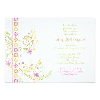 Whimsical Floral Sweet 16 Birthday Invitation