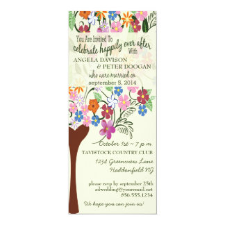 """Whimsical Floral Tree Post Wedding Party Invite 4"""" X 9.25"""" Invitation Card"""