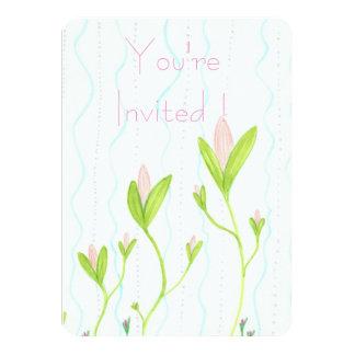 Whimsical Floral Vine Stripe invitation cards