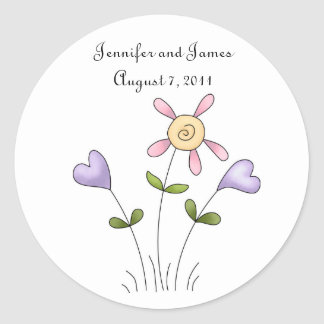 Whimsical Floral Wedding Sticker