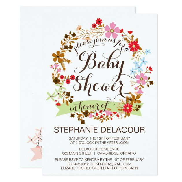 whimsical floral wreath baby shower invitation | zazzle, Baby shower invitations
