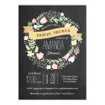 Whimsical Floral Wreath Chalkboard Bridal Shower Custom Invitation