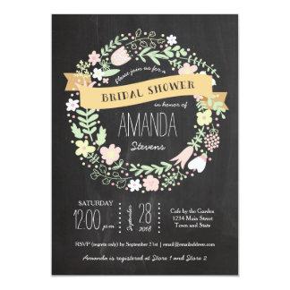 Whimsical Floral Wreath Chalkboard Bridal Shower 5x7 Paper Invitation Card
