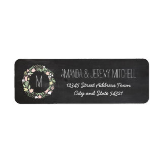 Whimsical Floral Wreath Chalkboard Monogram Return Address Label