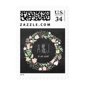 Whimsical Floral Wreath Chalkboard Monogram Postage Stamp