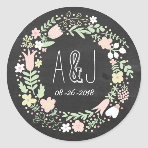 Whimsical Floral Wreath Chalkboard Monogram Stickers