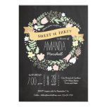 Whimsical Floral Wreath Chalkboard Sweet 16 Photo Invite