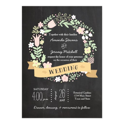 Whimsical Floral Wreath Chalkboard Wedding Personalized Announcement