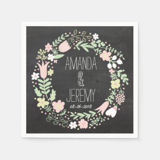 Whimsical Floral Wreath Chalkboard Wedding Disposable Napkin