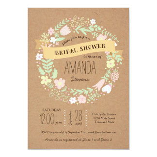 Whimsical Floral Wreath Craft Paper Bridal Shower Custom Announcements