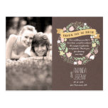 Whimsical Floral Wreath Grey Thank You Photo Postcard