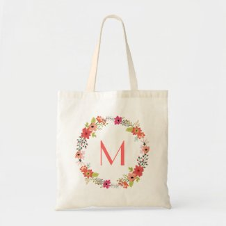 Whimsical Floral Wreath Monogram Budget Tote Bag