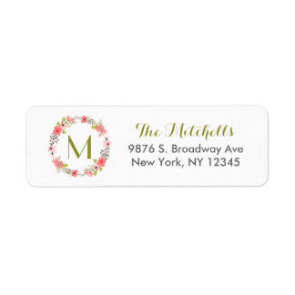 Whimsical Floral Wreath Monogram Label