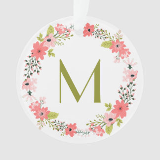 Whimsical Floral Wreath Monogram Photo Ornament