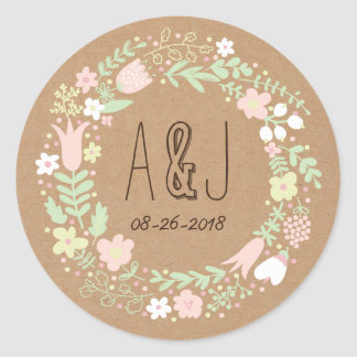Whimsical Floral Wreath on Craft Paper Monogram Classic Round Sticker